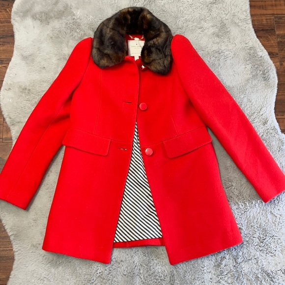 Kate Spade trench coat/ very stylish/ fur/